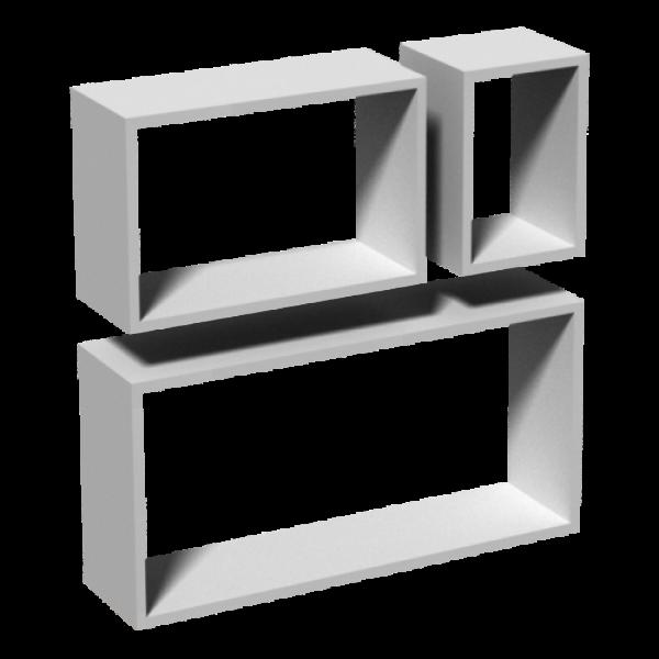 BOX ΣΕΤ ΡΑΦΙΑ ΞΥΛΙΝΑ πάχους 15mm ΛΕΥΚΟ ΜΕ ΚΡΥΦΗ ΣΤΗΡΙΞΗ